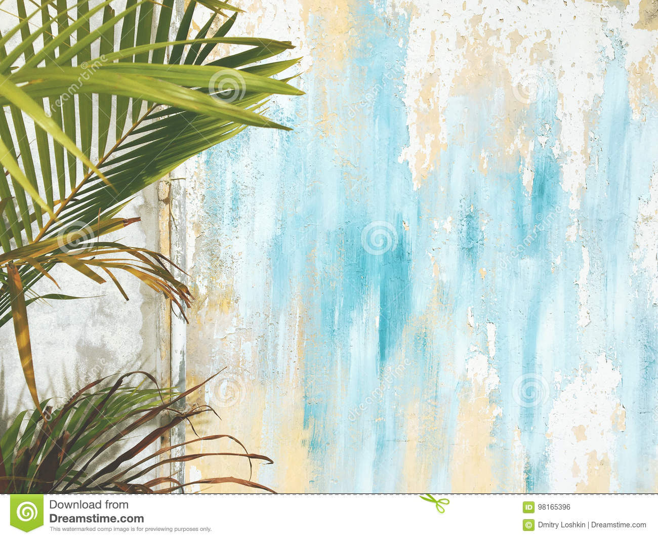 Old Cracked Antique Vintage Historic House Wall and Palm Tree Leaf Branch. Tropical Exotic Thai Summer Tourist Travel