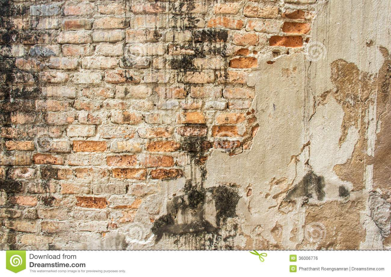 Old Cracked Concrete Vintage Brick Wall Background Royalty Free Stock