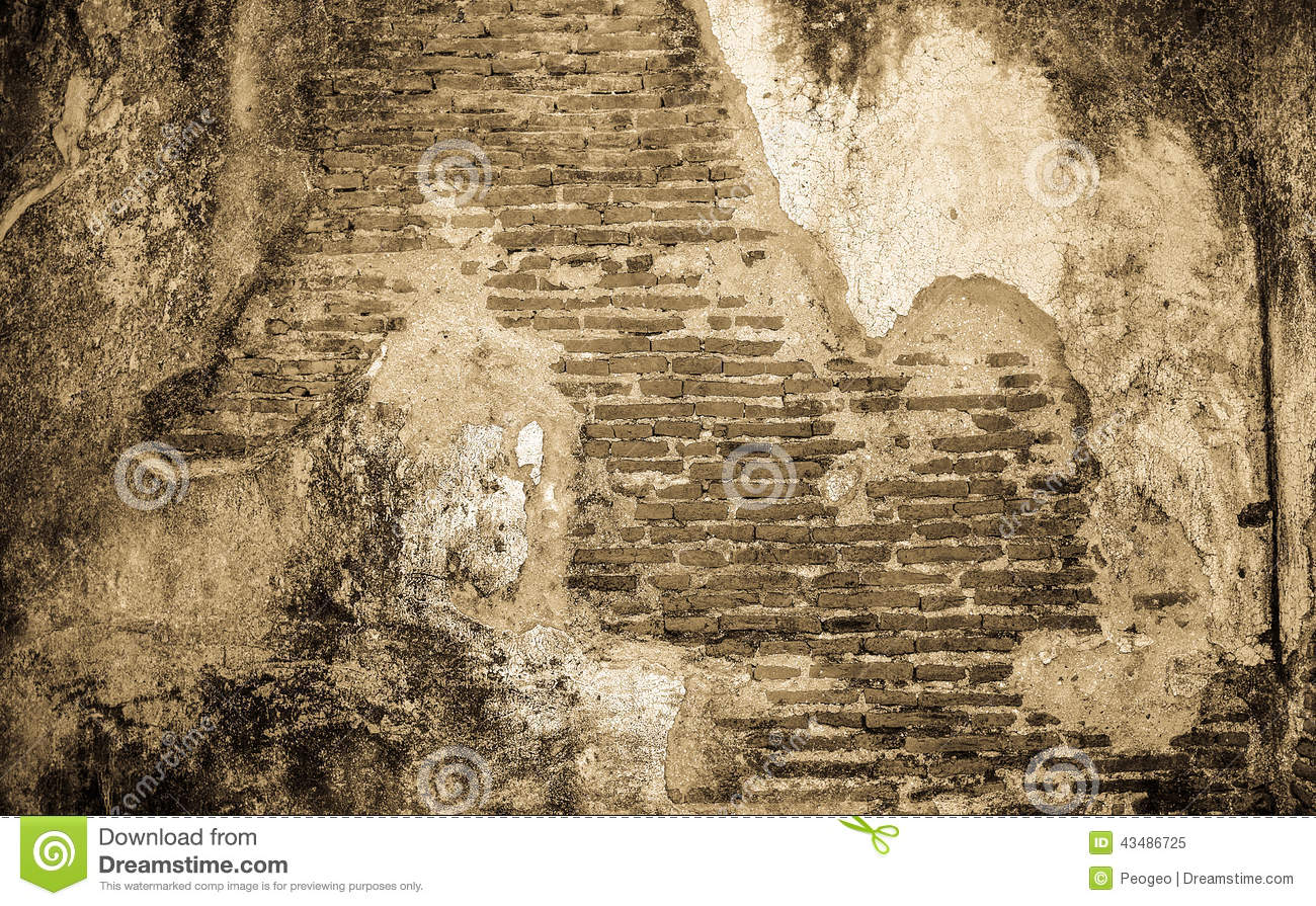 Old Cracked Concrete Vintage Brick Wall Background Stock