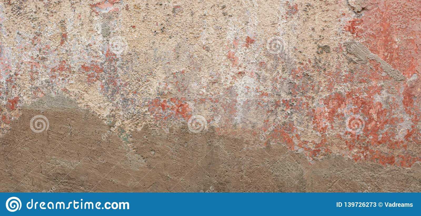 Old cracked weathered shabby red painted and new plastered wall banner background