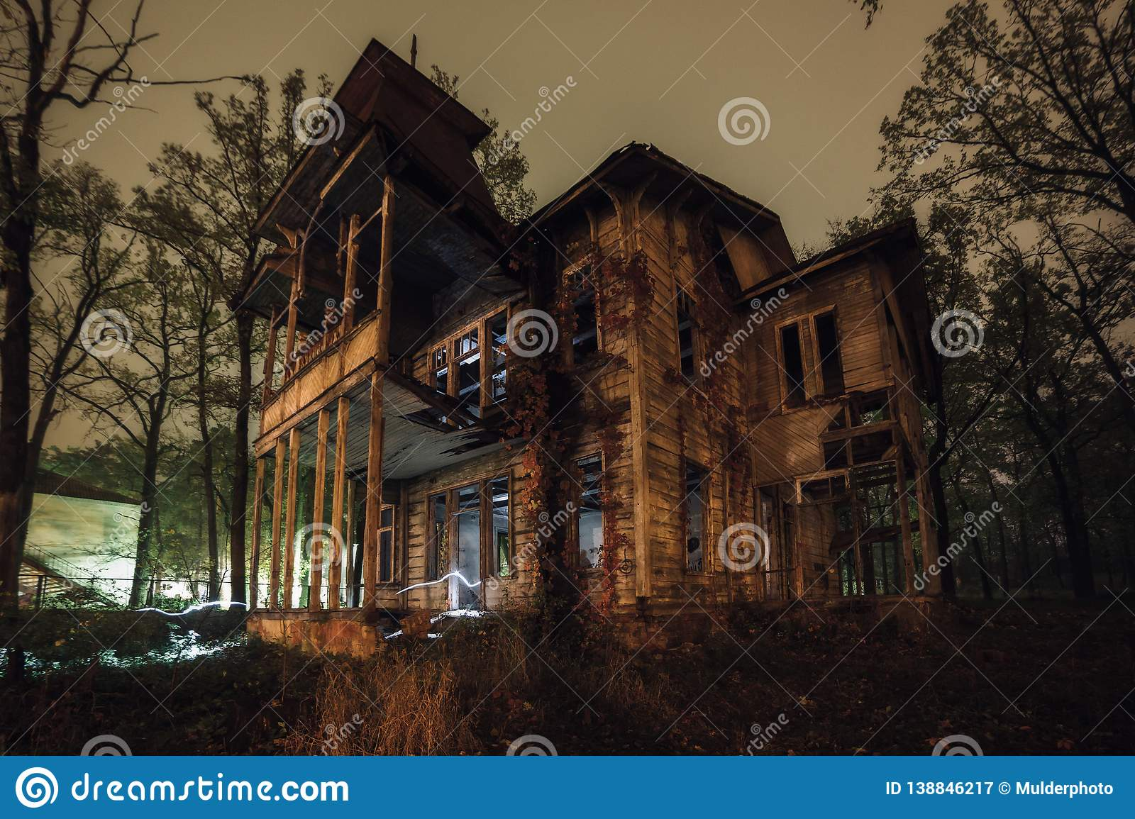 Old Creepy Wooden Abandoned Haunted Ruined Mansion At Night Stock Image Image Of Ghost Detective 138846217