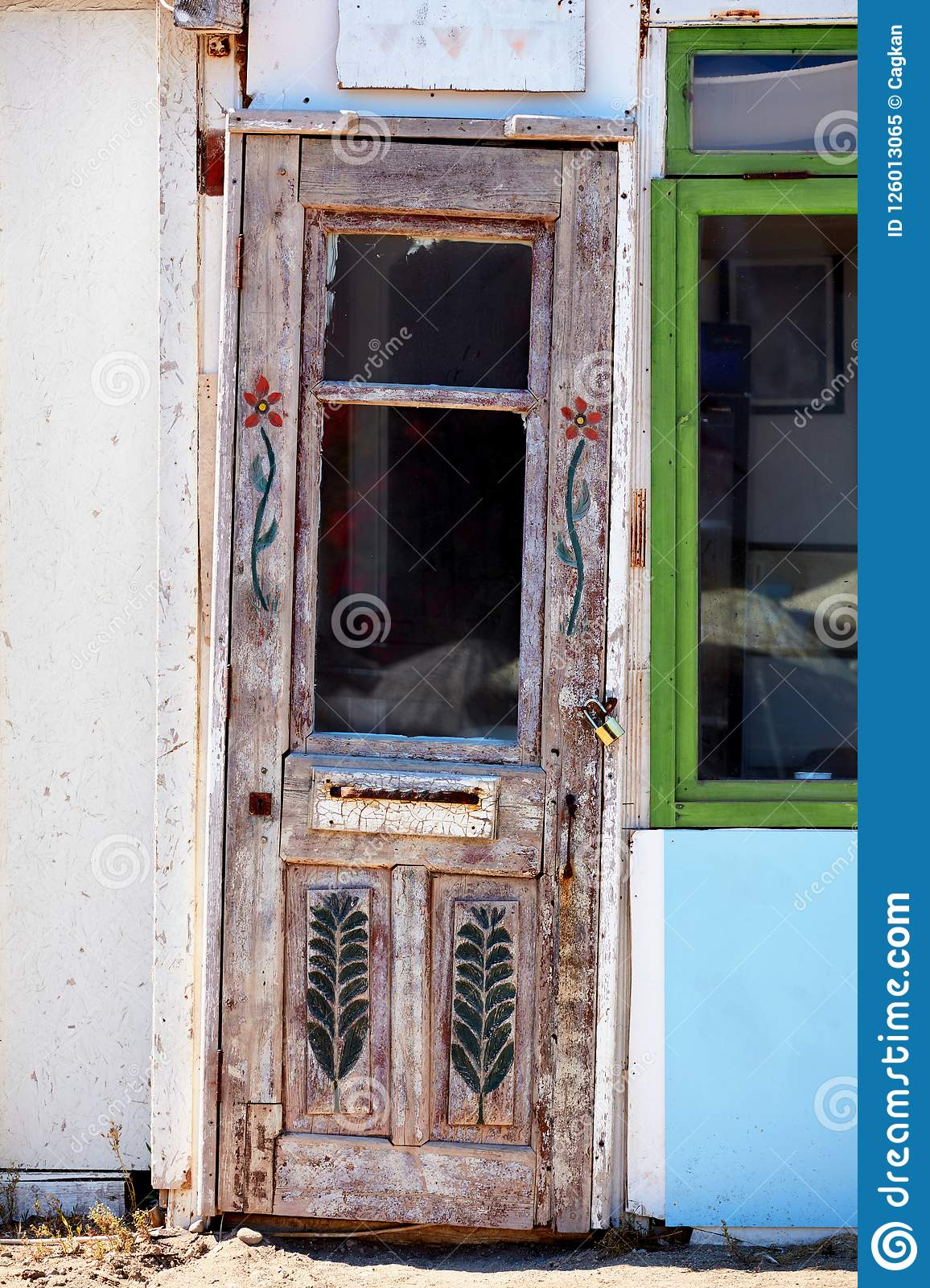 Old Crooked Door With Carvings On It Stock Image Image Of Aged