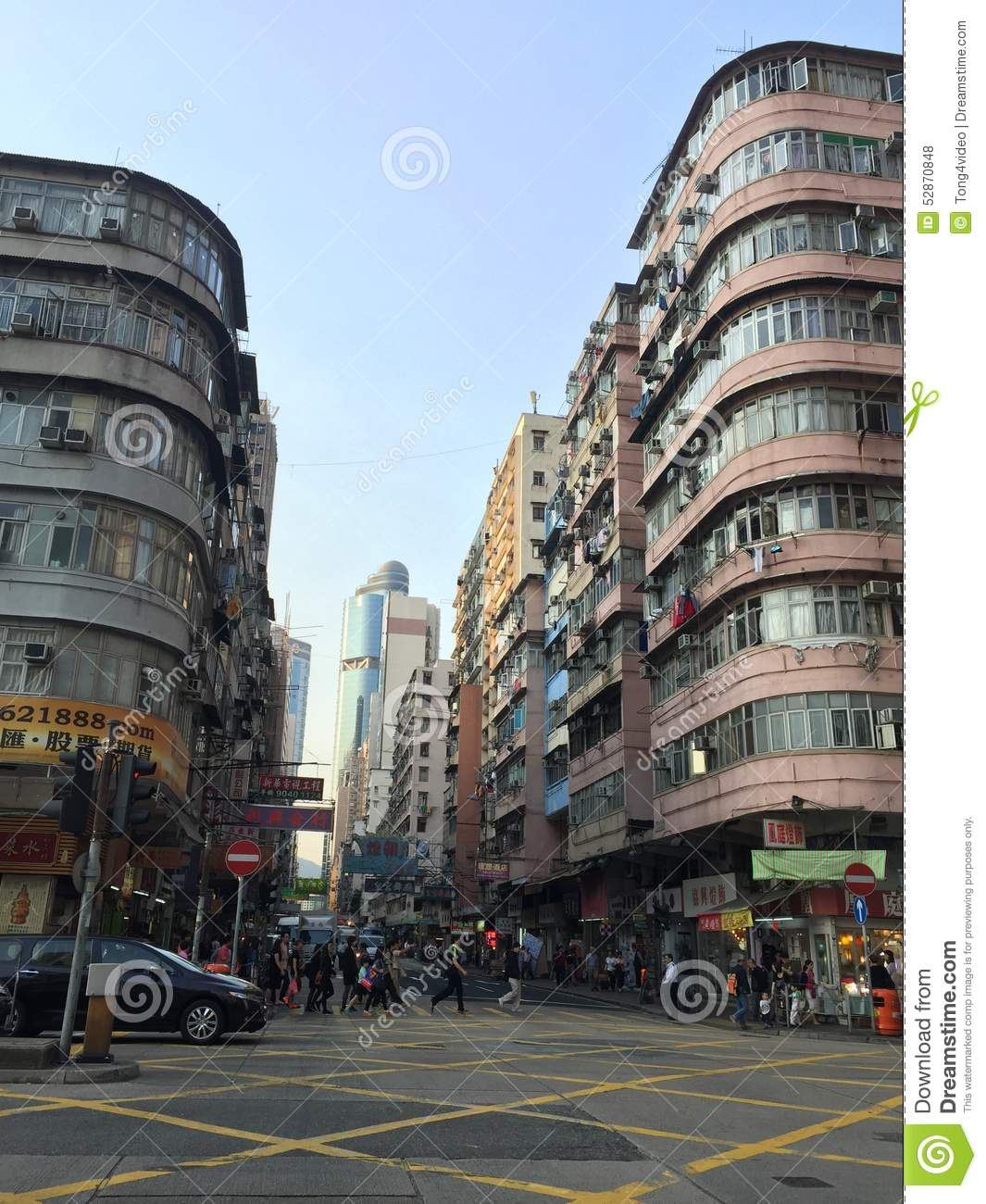 Old And Crowded Building In Hong Kong Editorial Stock