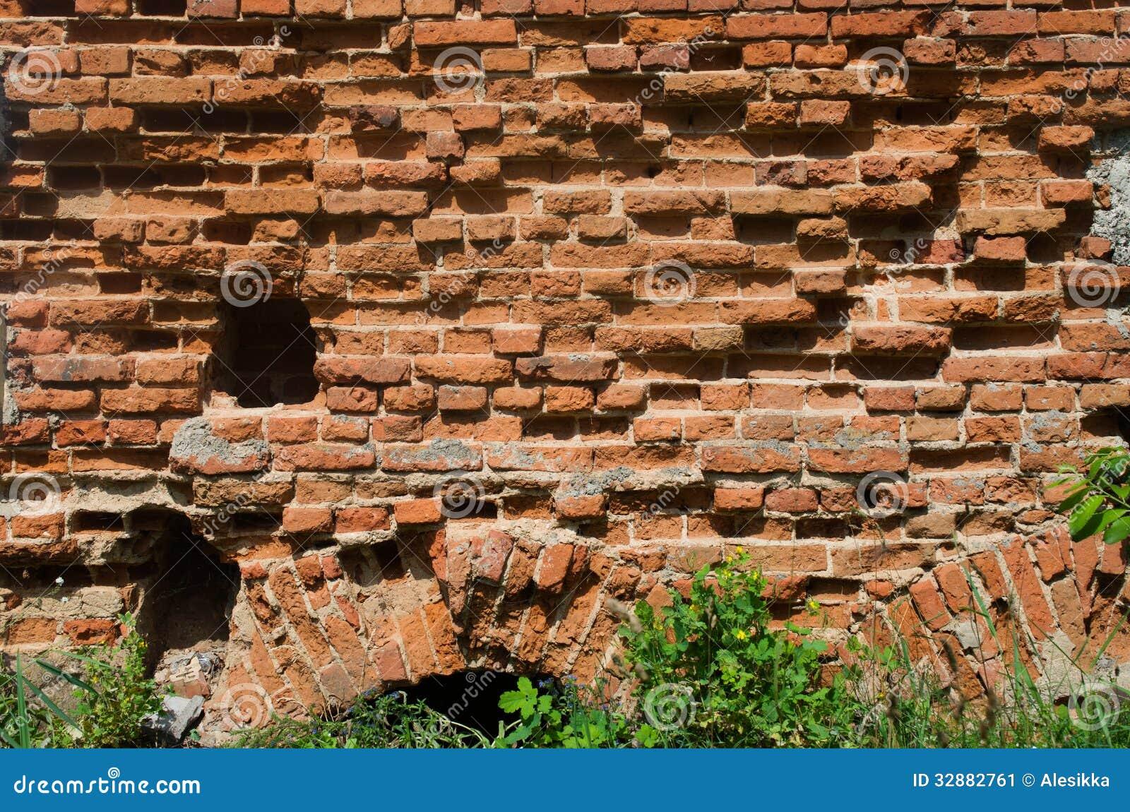 Old Crumbling Brick Wall Stock Image Image 32882761