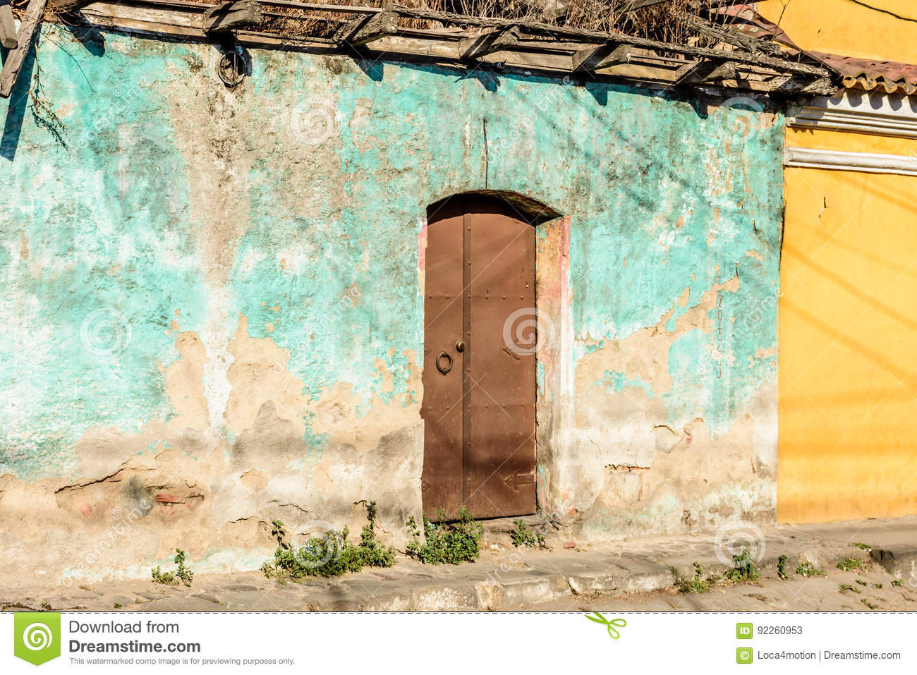 old crumbling house wall central america stock image image of