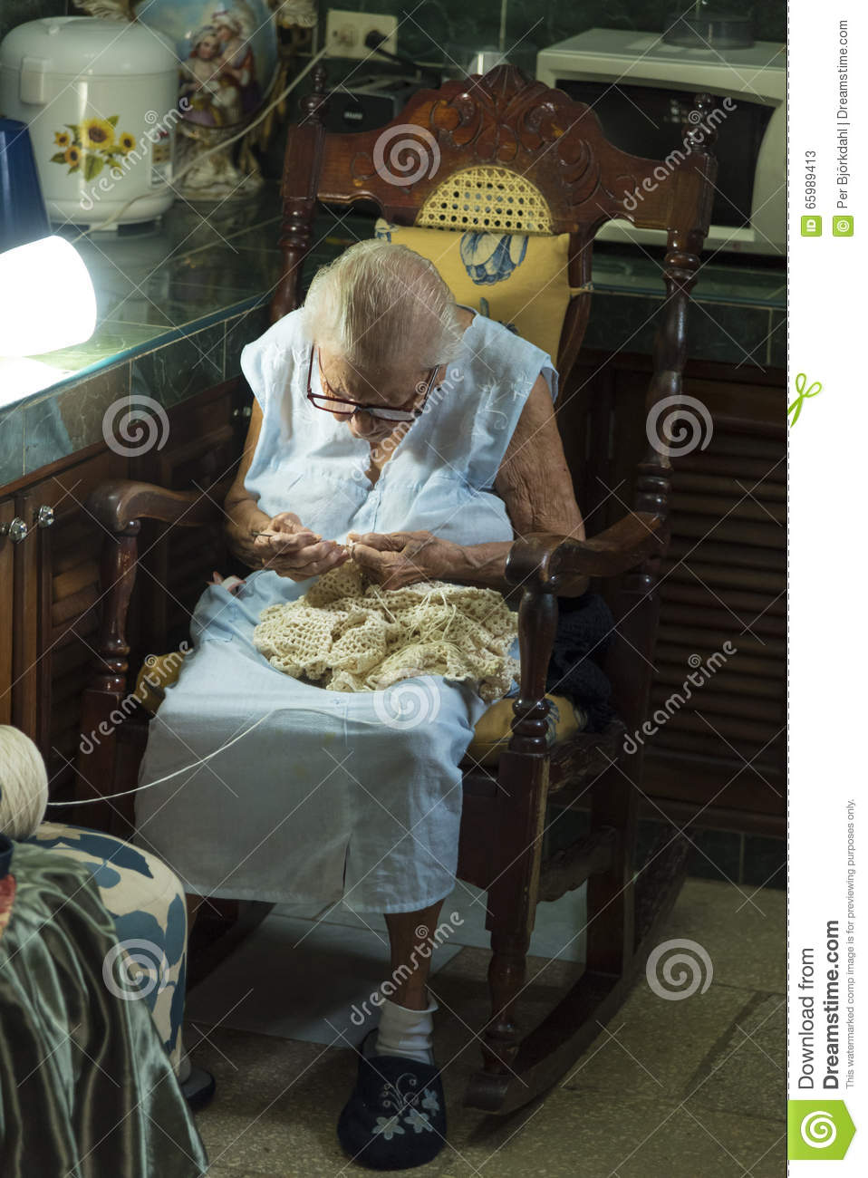 Old Cuban Lady Knitting Editorial Stock Photo Image Of