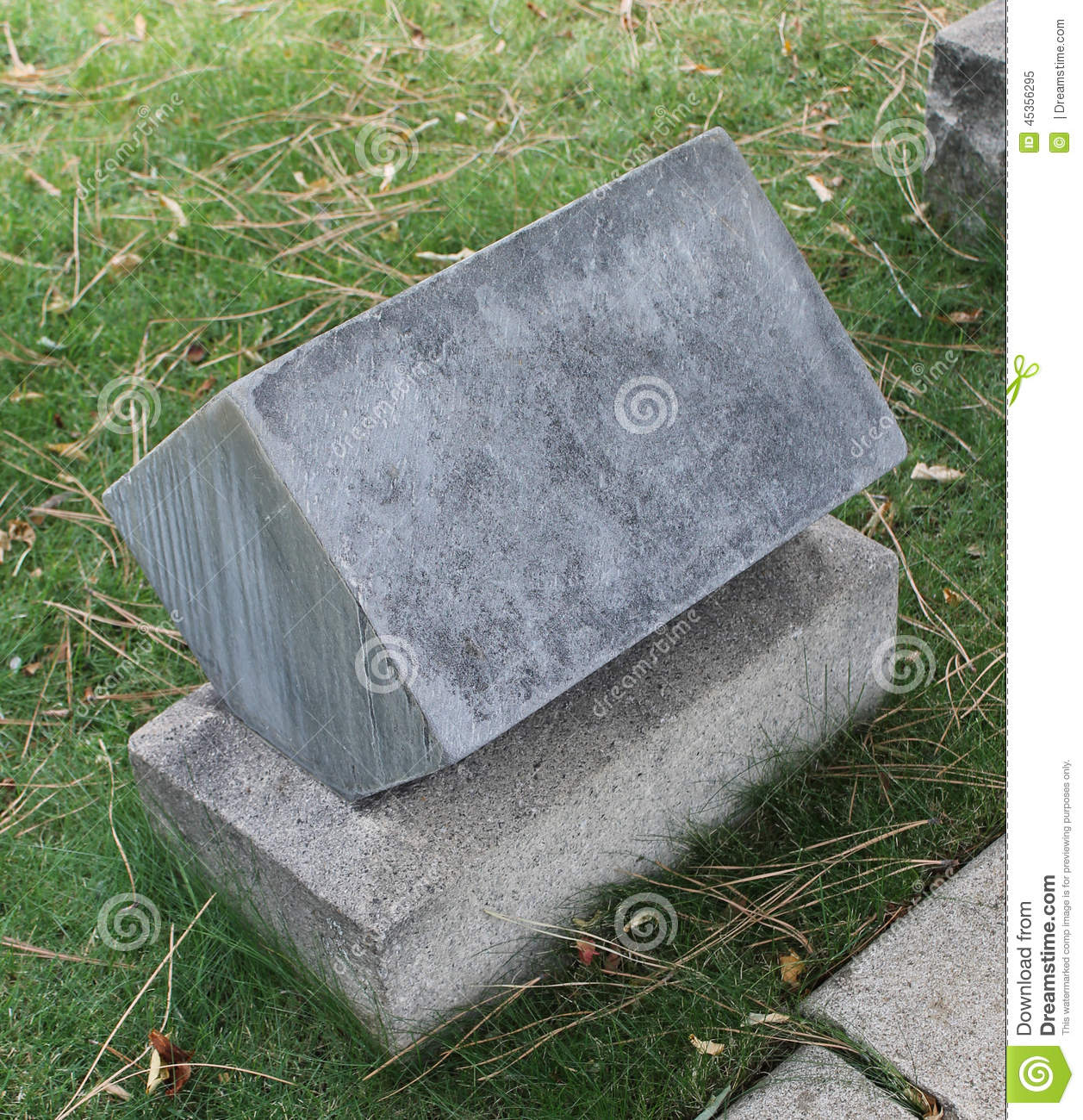 Old Cube Marble Headstone On Old Cemetery Stock Image - Image of