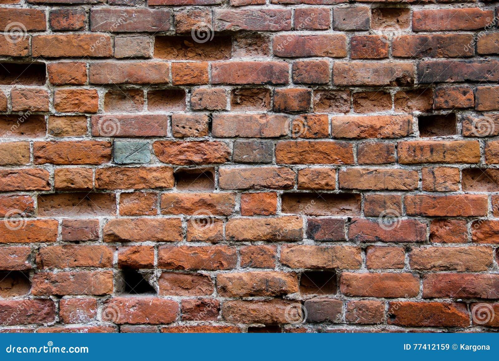 Old Damaged Brick Wall With Holes Stock Image Image