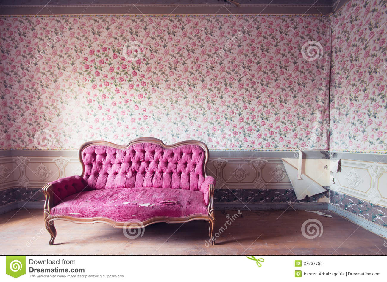Old Damaged Red Couch In An Antique House Flowers
