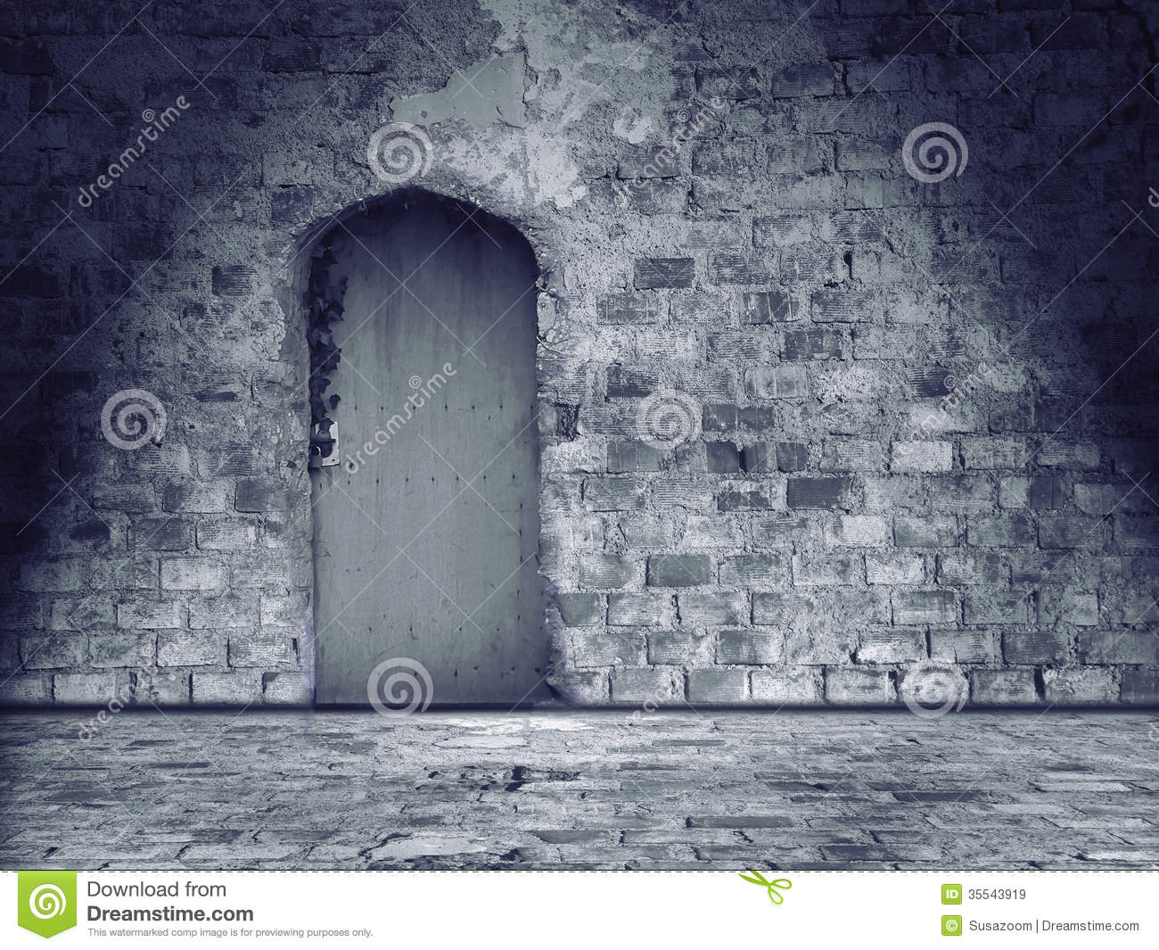 Old damaged stone wall and floor with closed door royalty for Door of stone