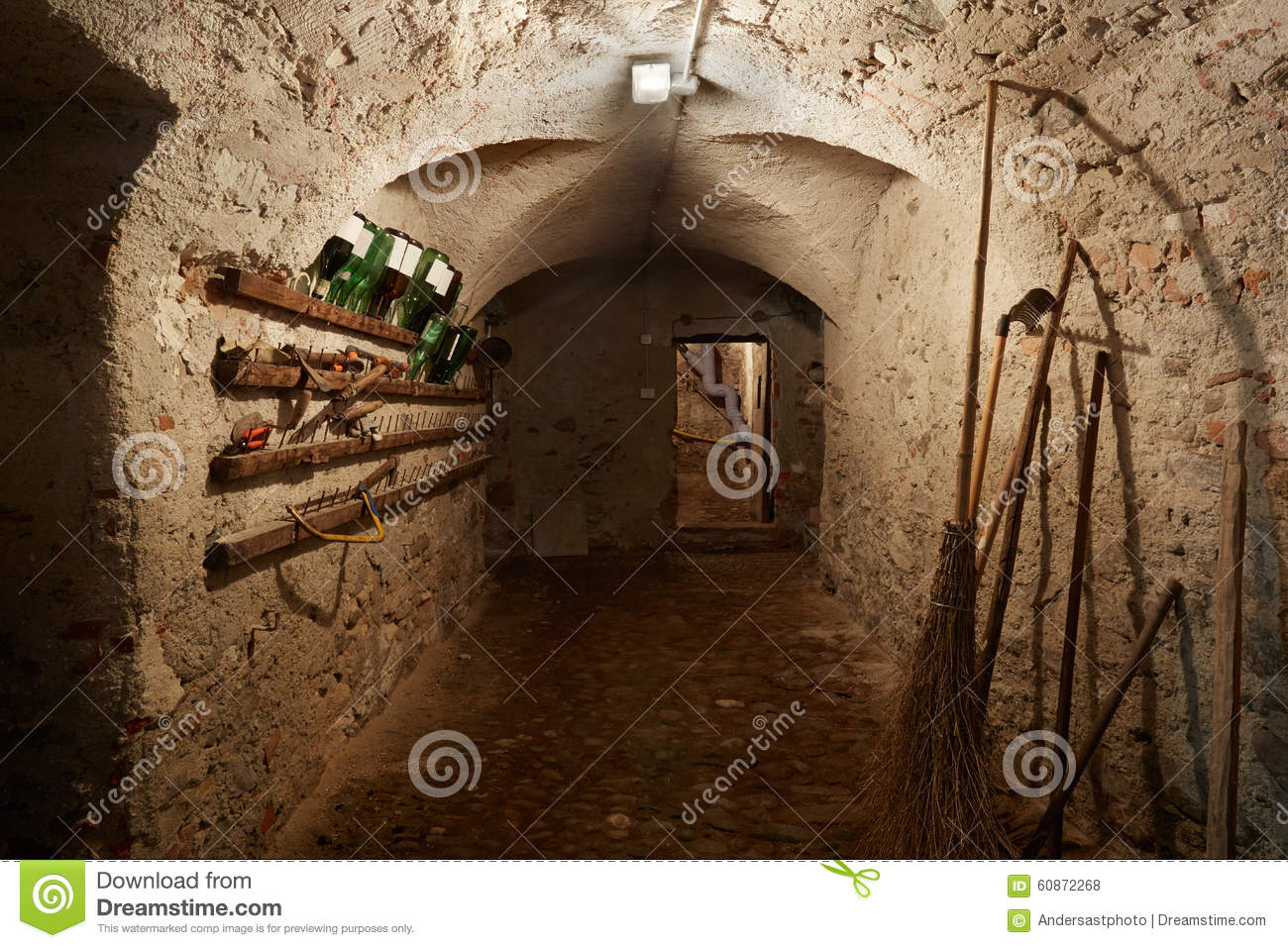 Old dark basement corridor with tools stock photo image for Free basement design tool