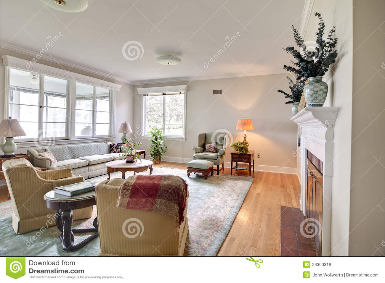 old dated home interior stock photo