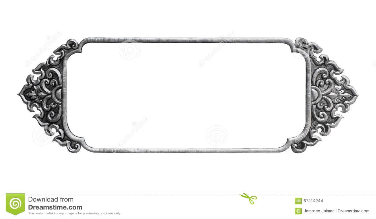 Old Decorative Silver Frame - Handmade, Engraved Stock Photo - Image ...