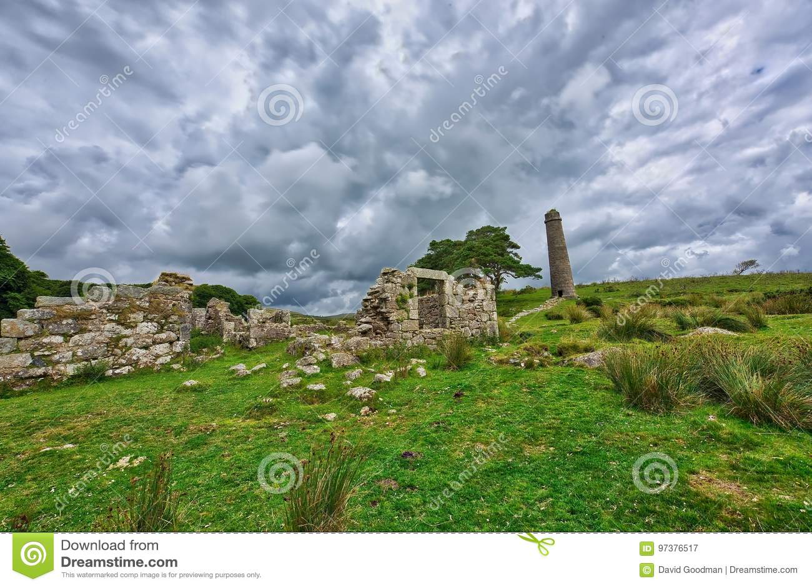 Old Derelict Graite Tin Mine on top of Dartmoor in England