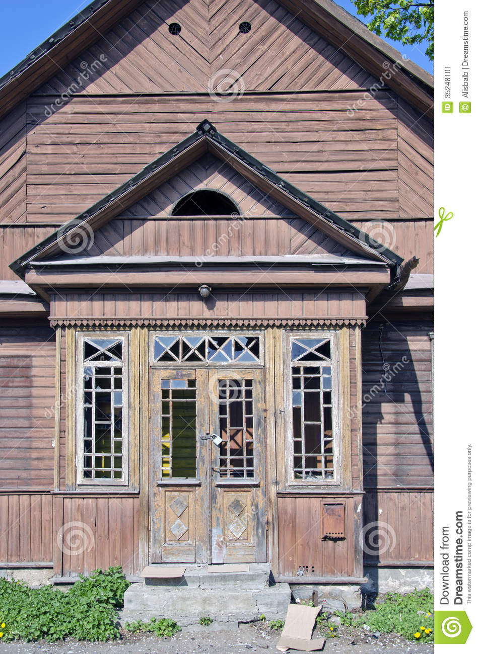 Old derelict wooden house facade stock image image 35248101 for Classic house facades