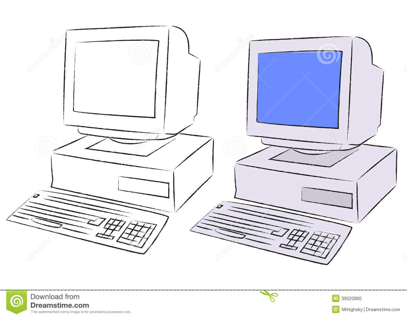 Old Desktop Computer Stock Vector - Image: 39520860