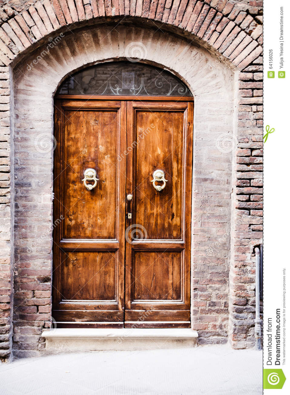 Front door of home old european house italy stock for European entry doors
