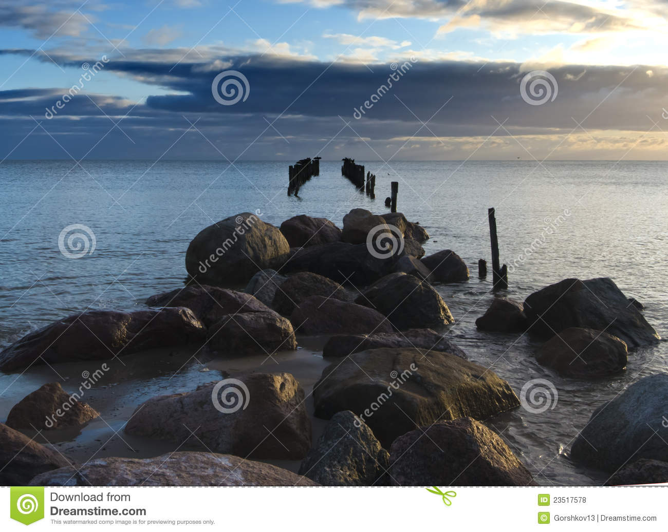 Old destroyed wharf, gulf of Riga, Latvia
