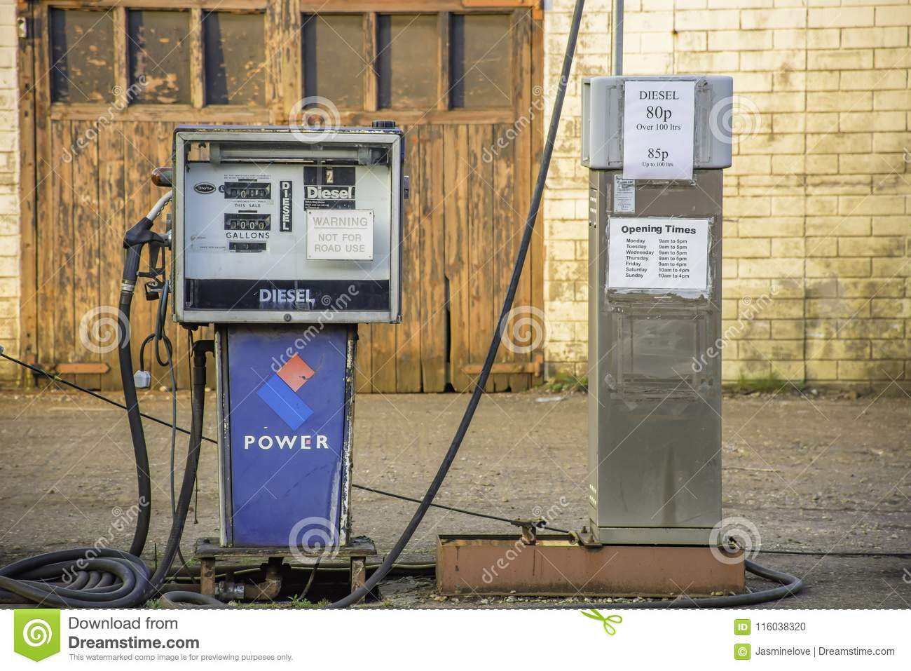 Old Diesel Pump In Boat Fuelling Point Editorial Image