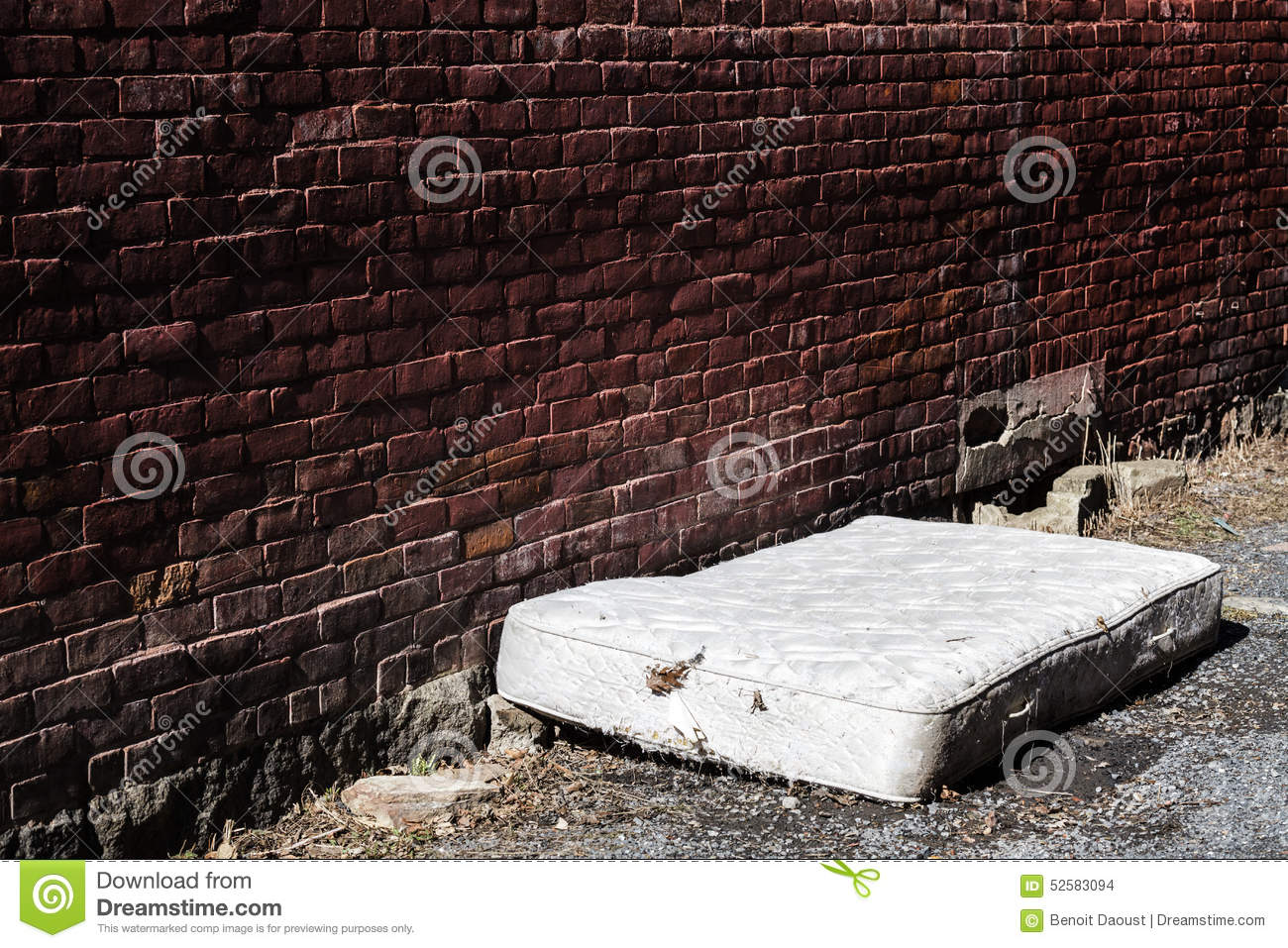 Old And Dirty Abandoned Mattress Stock Image