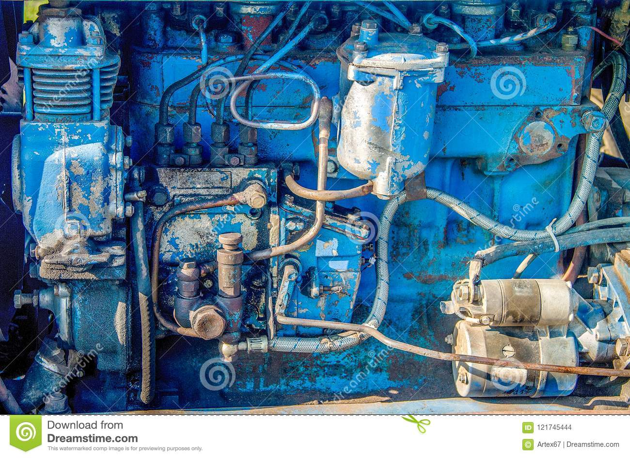 Old Dirty Blue Tractor Engine Stock Photo Image Of Industrial Electrical Wiring An