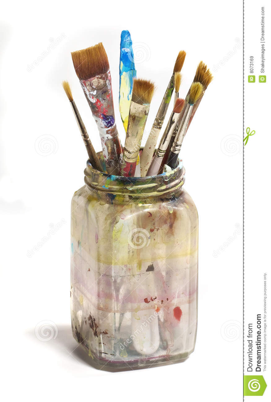 ... Dirty Jar Of Paint Brushes Royalty Free Stock Images - Image: 8073169