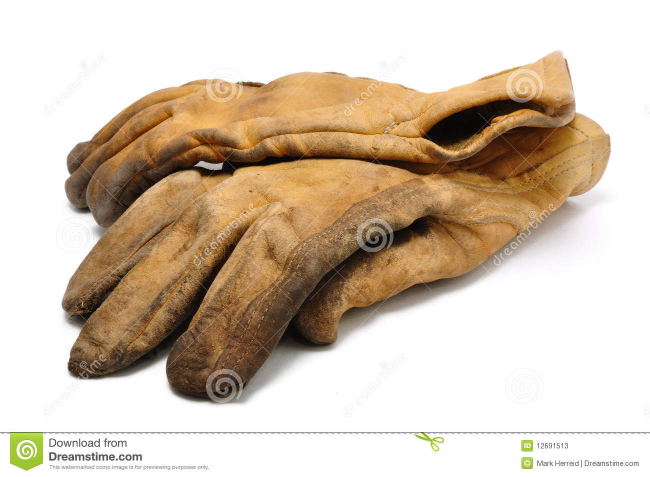 Deer hide leather work gloves - Old Dirty Leather Work Gloves Stock Photos