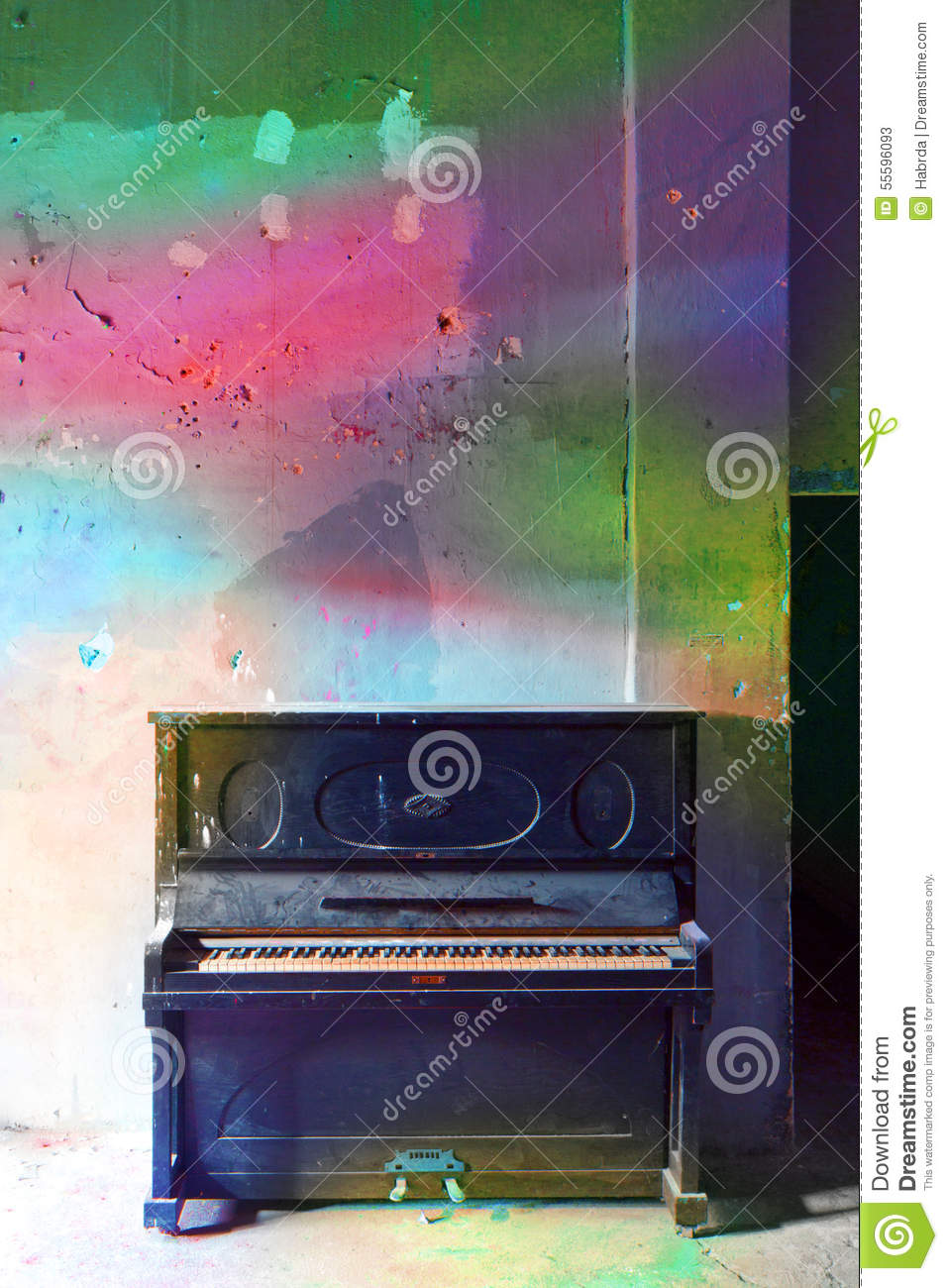 Old dirty piano stock image  Image of grunge, music