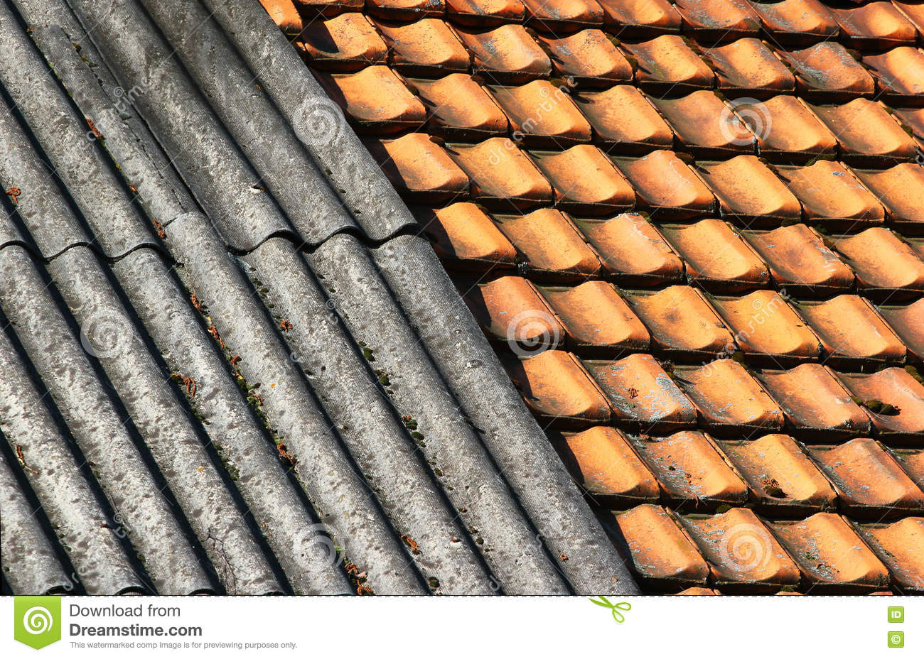 Old Dirty Weathered Wavy Slate And Ceramic Tiles Shingle Roof Stock