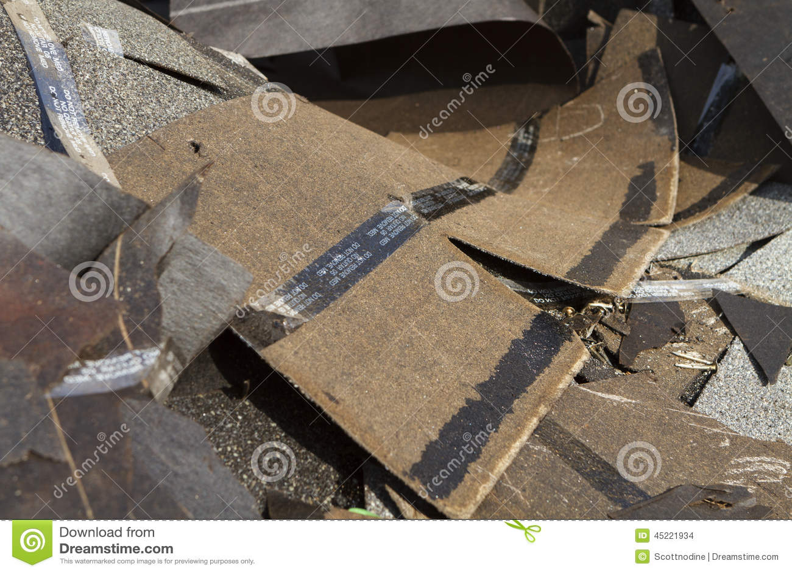 Old Discarded Asphalt Roof Shingles Trash Stock Photo
