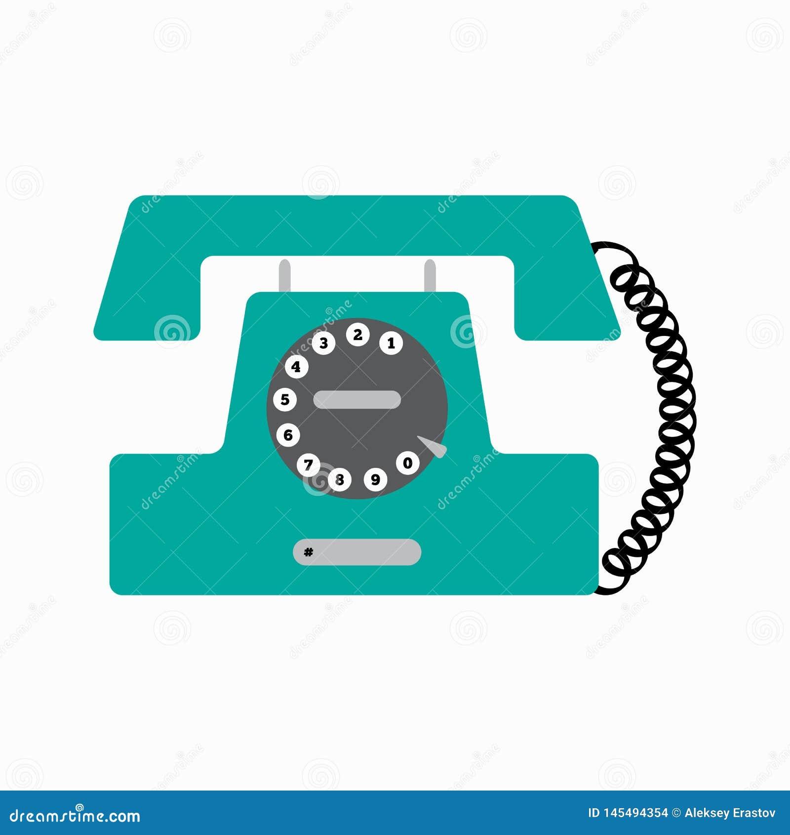 Old disk phone. Stationary retro telephone. Vector illustration.