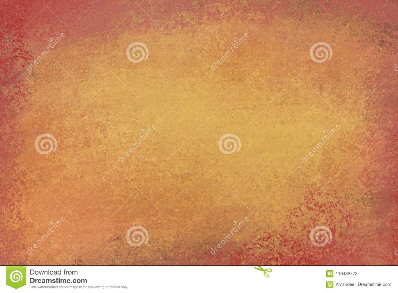 Old distressed background design with faded grunge texture in colors of brown and orange gold
