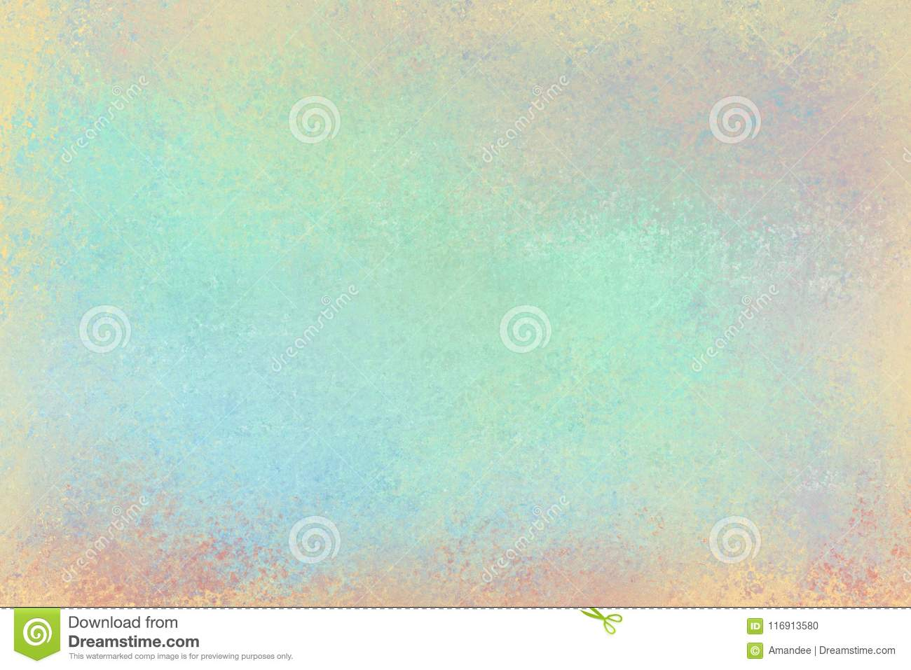 Old distressed background design with faded grunge texture in colors of pastel blue green pink yellow orange and red