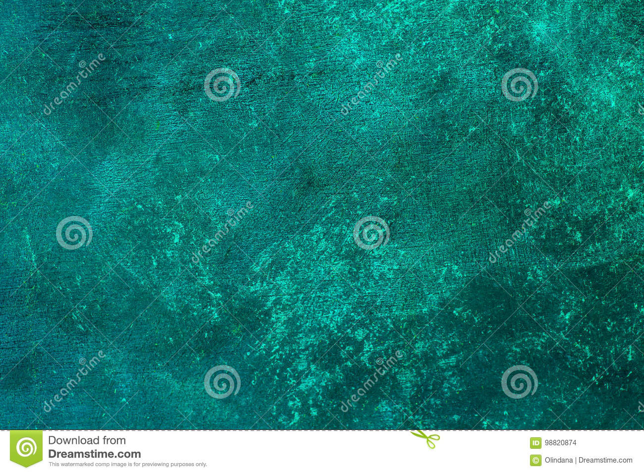 Old distressed blue turquoise rusted brass background with rough texture. Stained, gradient, concrete