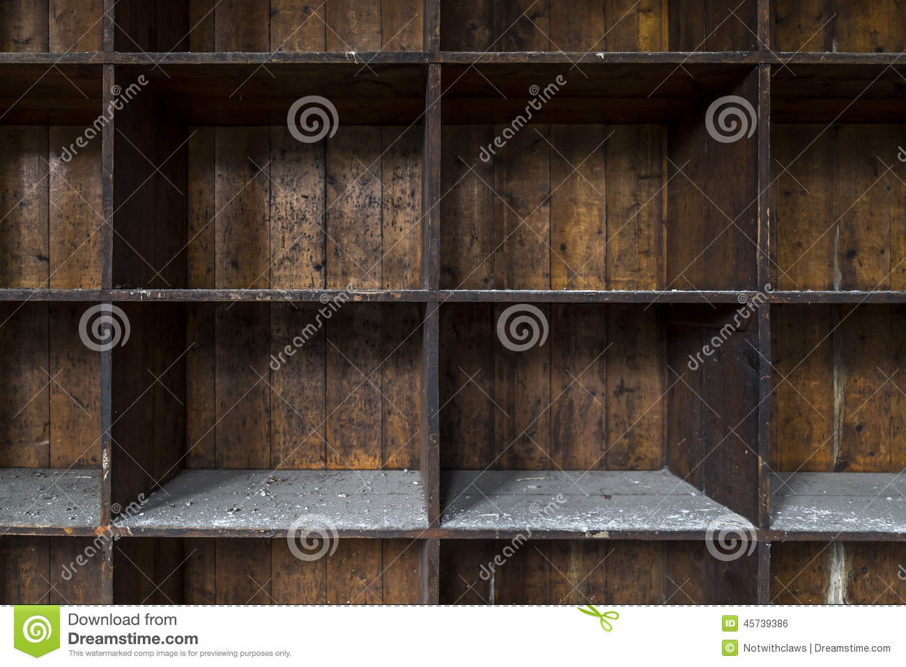 Old, distressed, empty wooden storage shelves