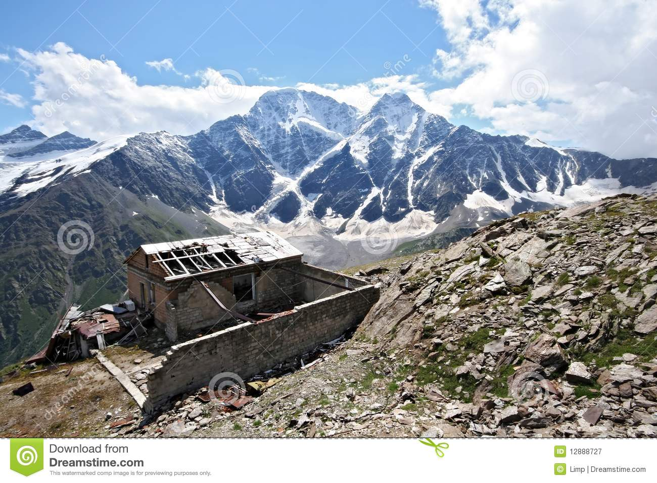 Old Disturbed House In Caucasus Mountains Royalty Free