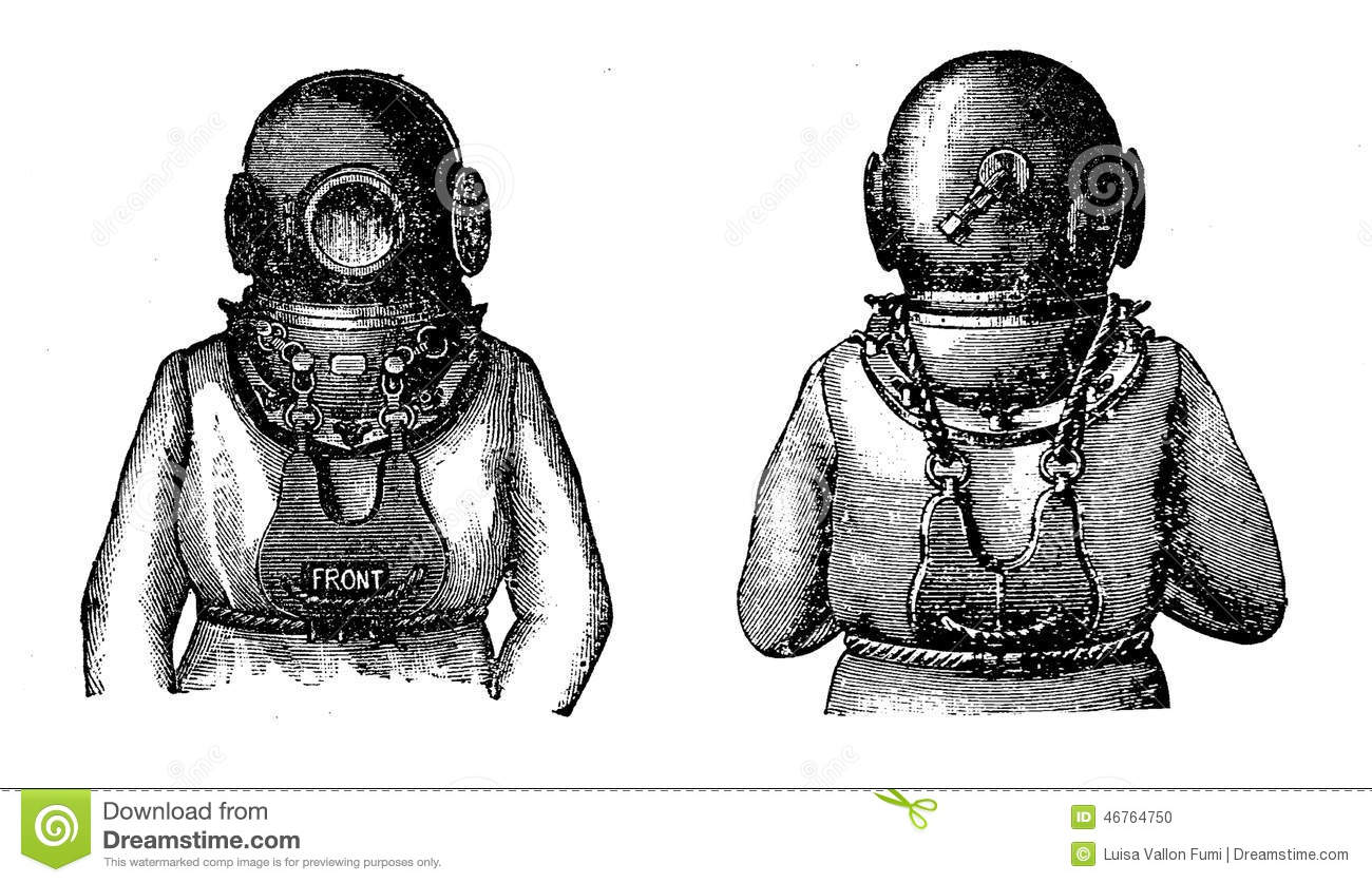 old diving suit black and white engraving stock