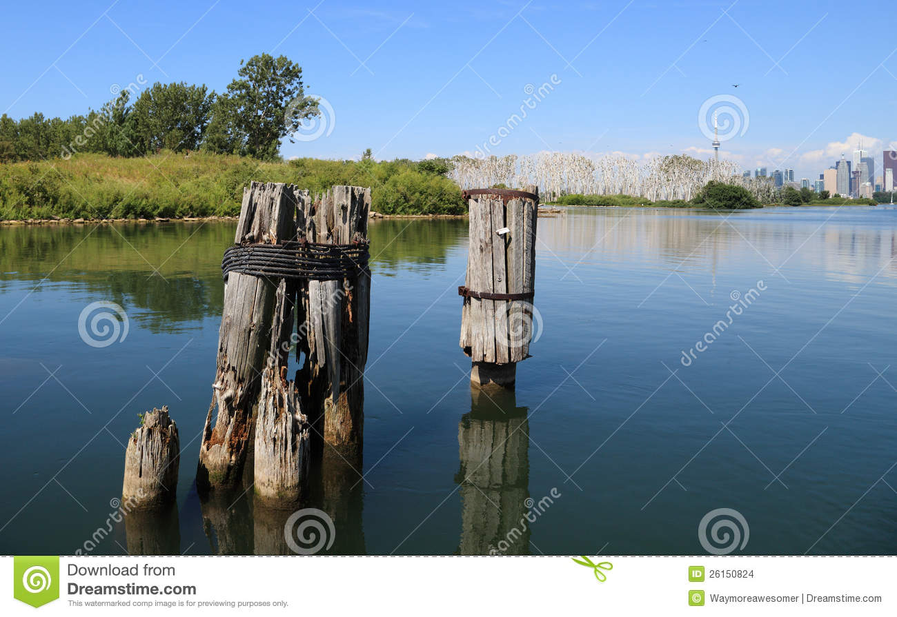 Old dock stock photo image of canadian shoreline for Dock pilings cost