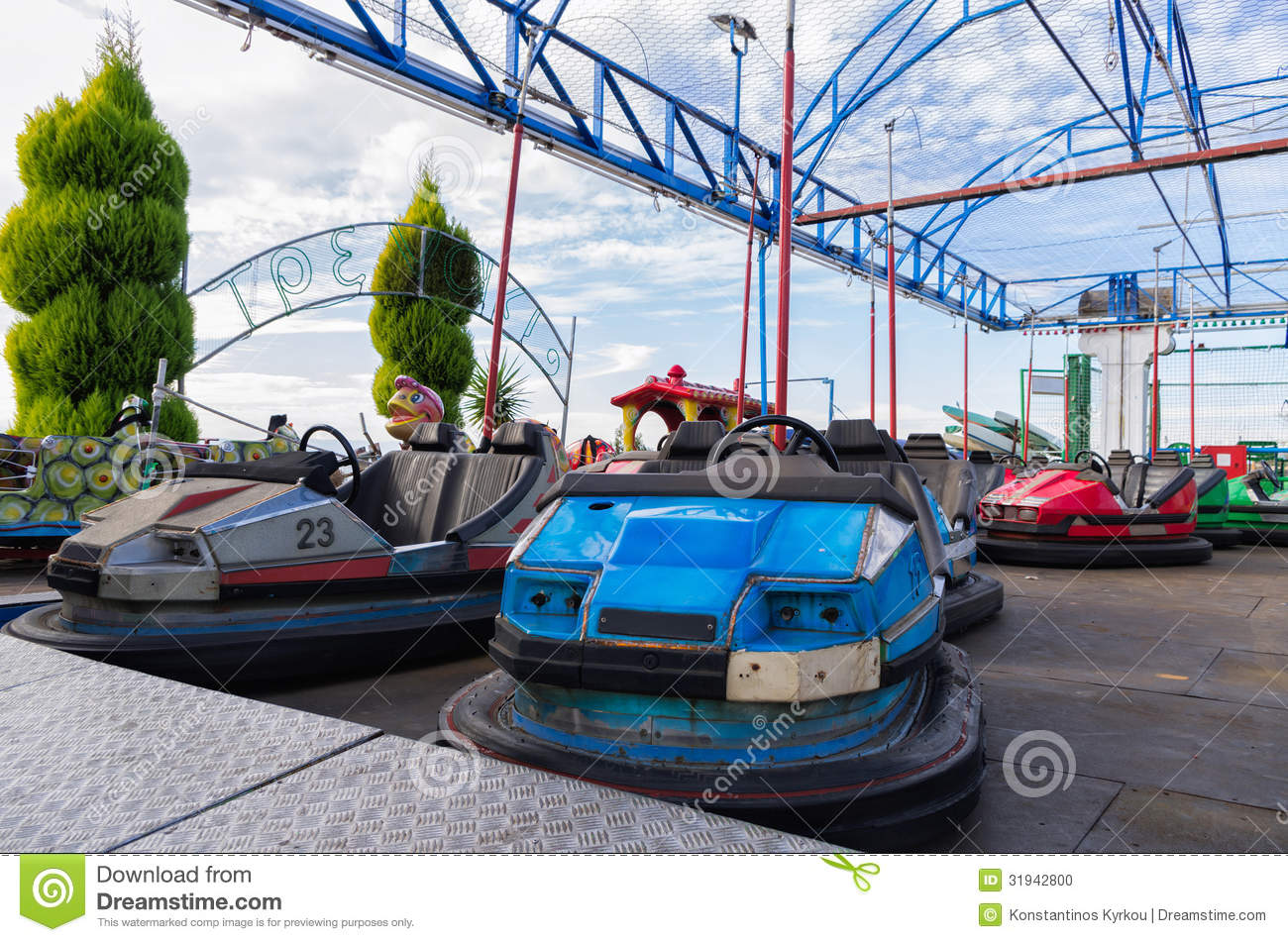 Old dodgem cars stock photo. Image of colorful, color - 31942800