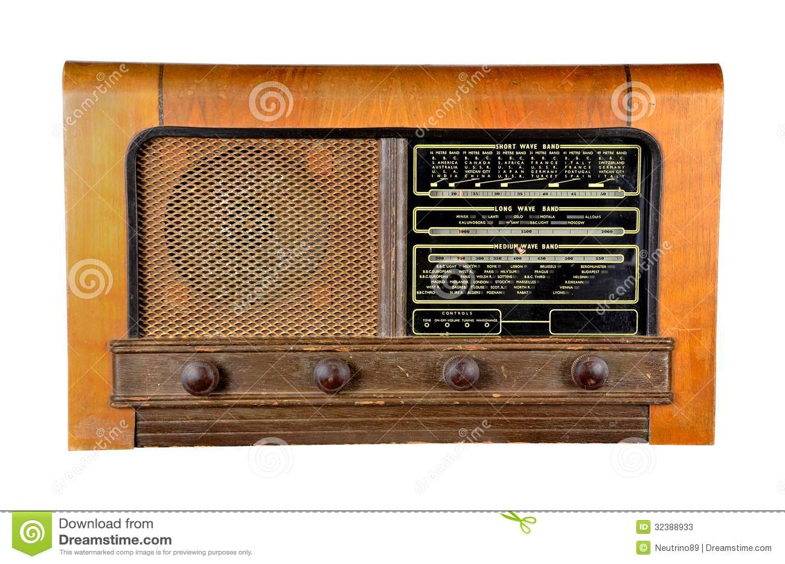 domestic radio receiver brown veneered wooden cabinet, gold speaker ...