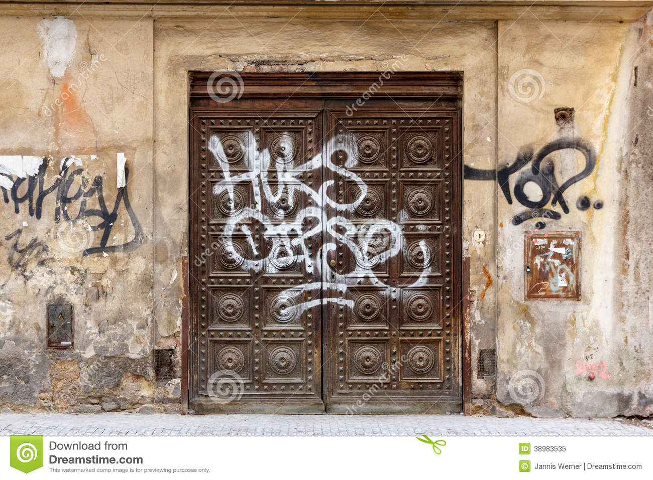 Old door with graffiti stock photo image 38983535 for Door z prague