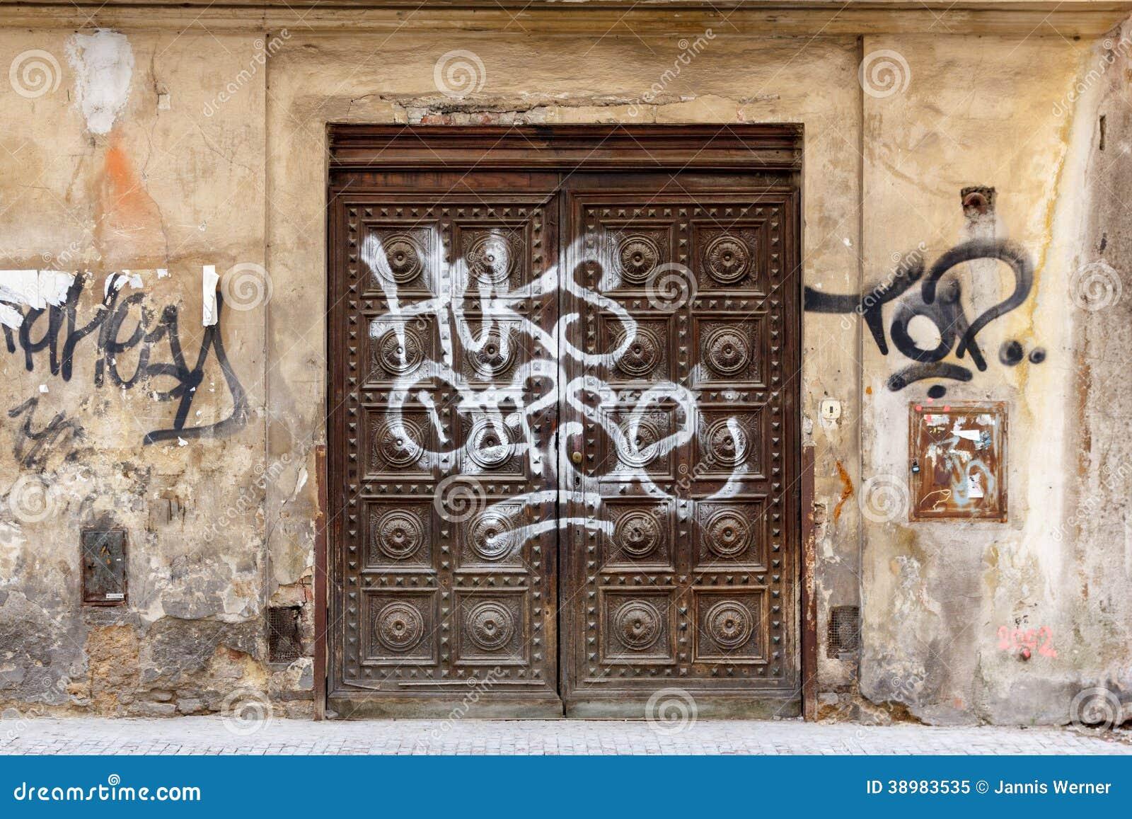 Old door with graffiti stock photo image 38983535 for Door z prague