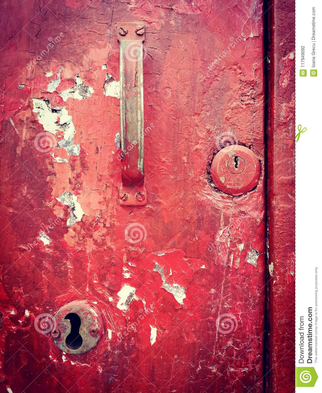 Old door keyhole and handle
