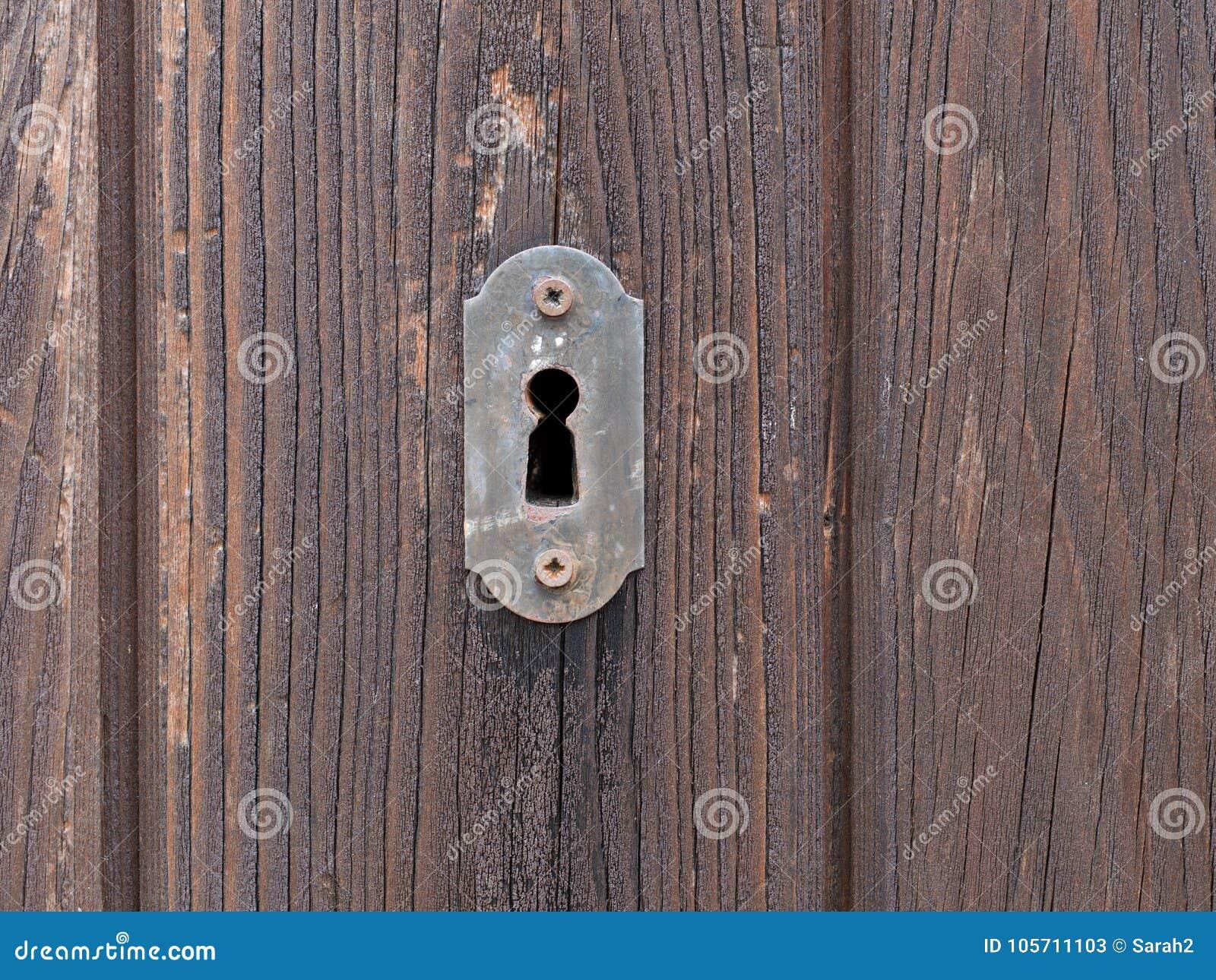 Old Door Lock On Wooden Door  Keyhole  Stock Image - Image of