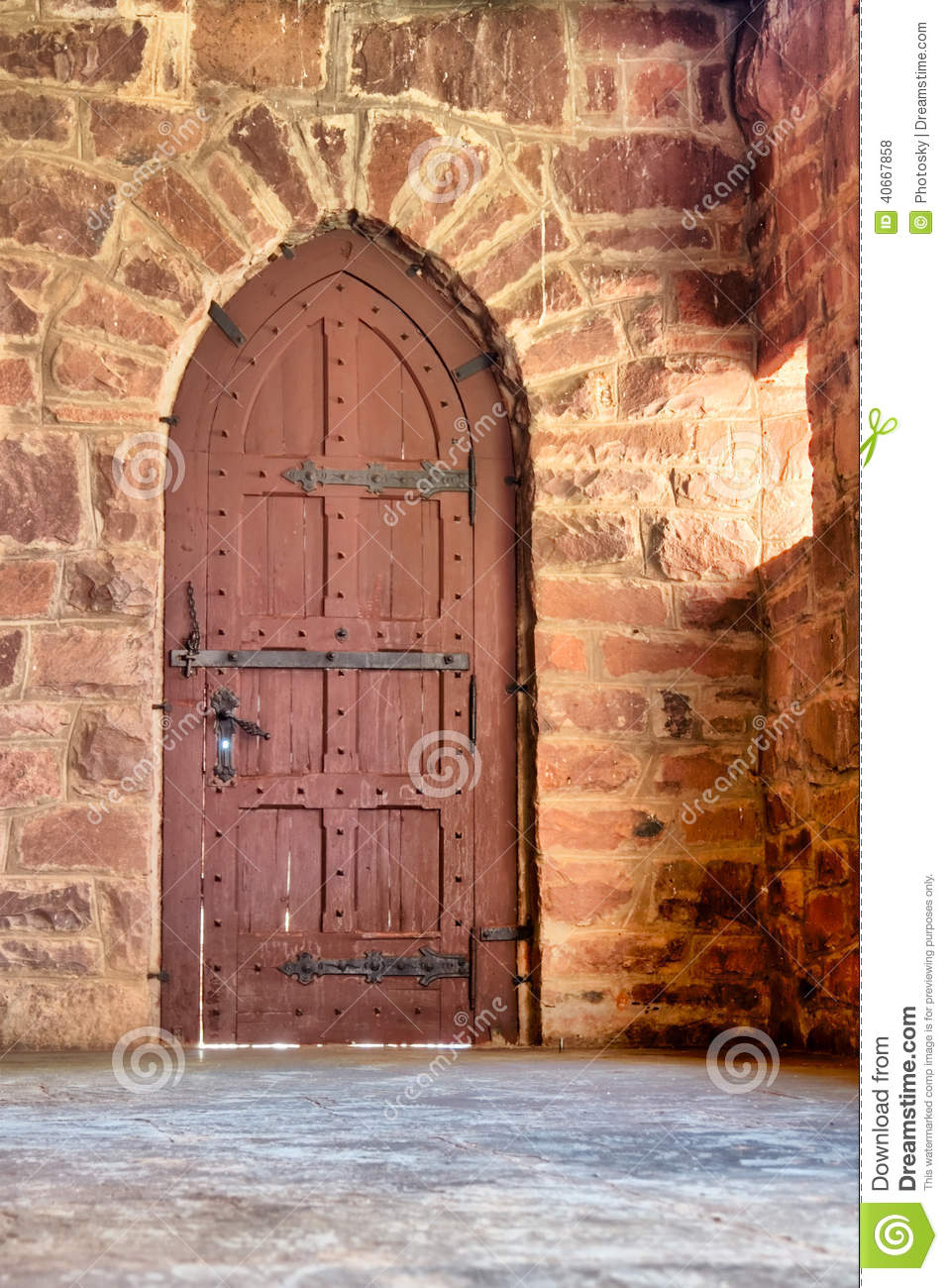 old door in a spanish style castle house stock photo