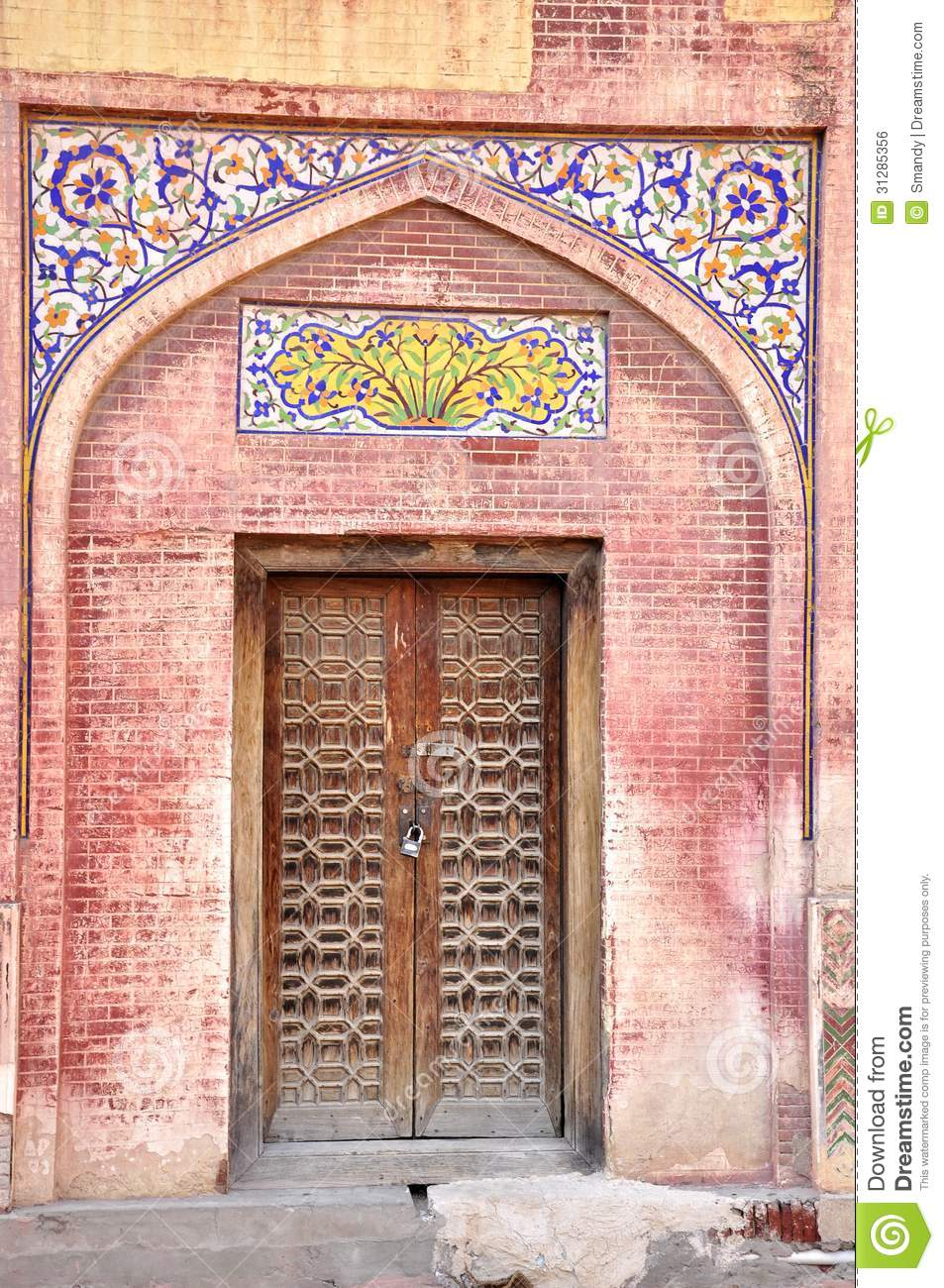 Old door in the walled city of lahore pakistan stock for Door design in pakistan