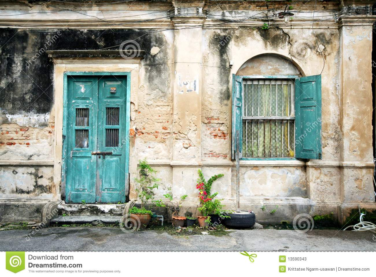 Old door and window on the old wall stock image image of for The door and the window