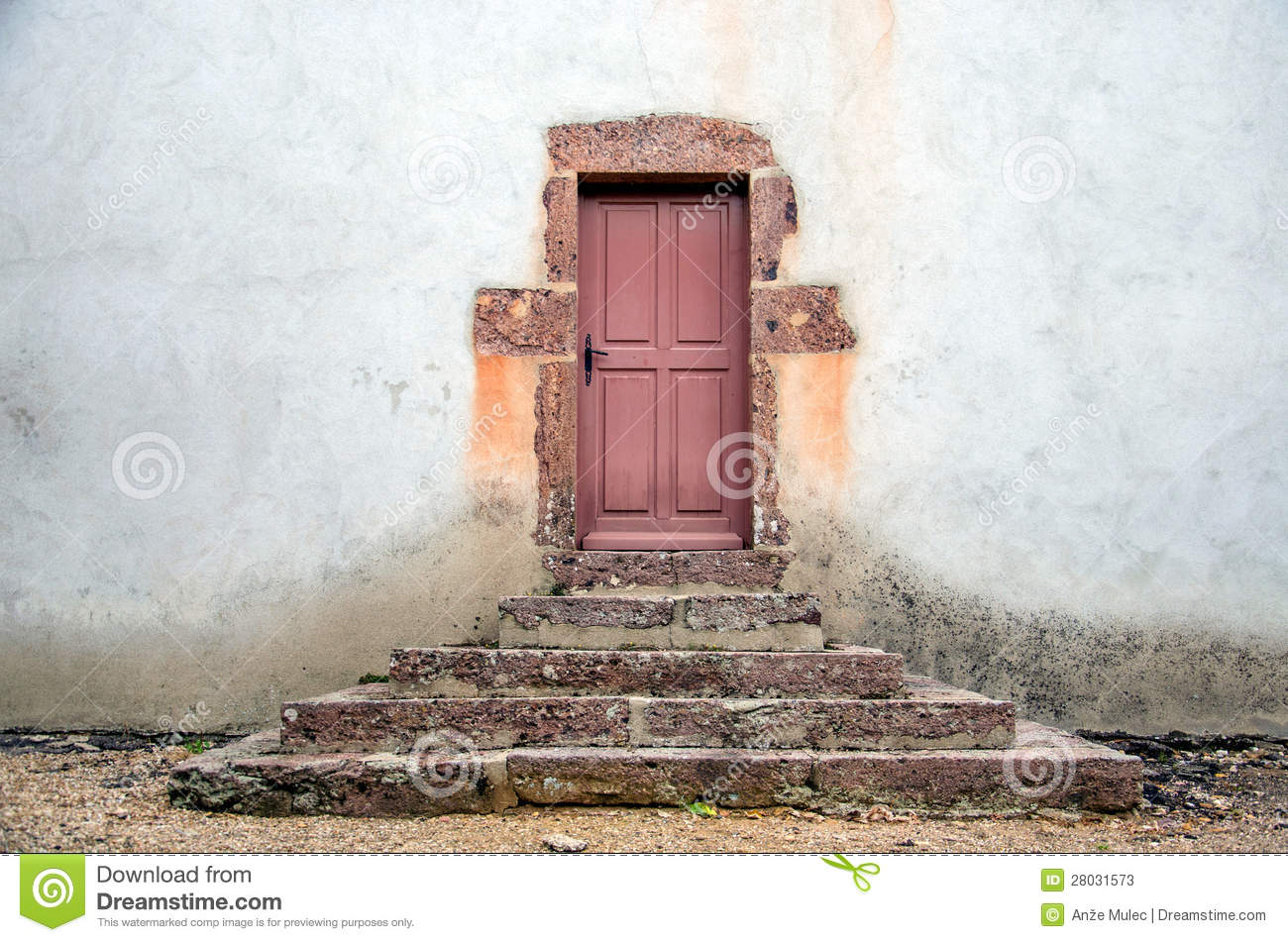 Old doors with steps