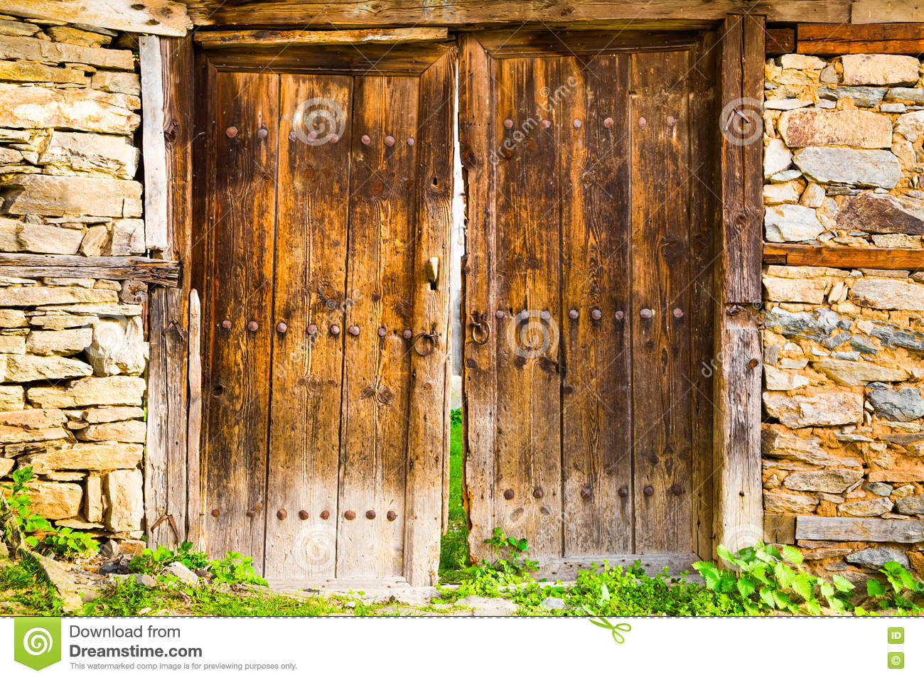 Old double rustic wooden barn doors stock photo image