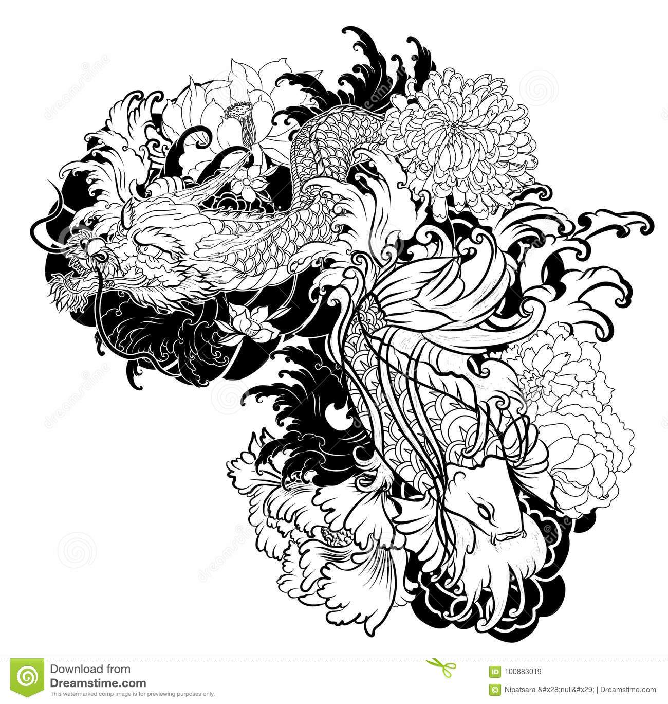 Old Dragon With Koi Carp Tattoo Japanese Style Stock Vector